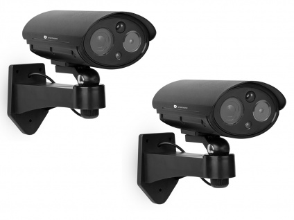 Kamera Attrappen Set mit Bewegungsmelder und Schwenkbewegung, Fake Überwachung