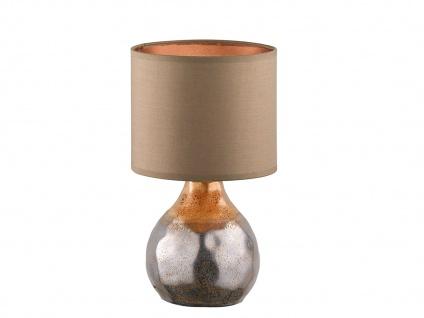 Dekorative Keramik Tischleuchte braun 31cm mit LED, Design Lampenschirm Textil