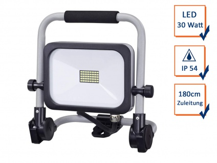 Klappbarer LED Baustrahler Bright Fluter 30Wat 180cm Zuleitung anthrazit-silber