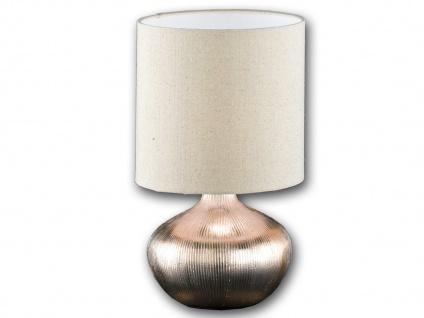 Keramik Tischleuchte gold mit LED, Lampenschirm Stoff, Tischlampe klassisch