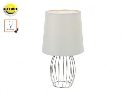 Design Tischleuchte AKIN modern Textilschirm grau, Tischlampe Wohnzimmer Flur
