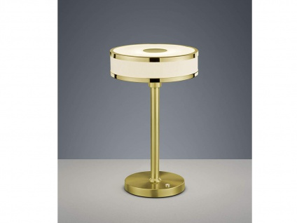 Runde LED Tischleuchte dimmbar mit Stofflampenschirm Ø20cm in weiß, Messing matt