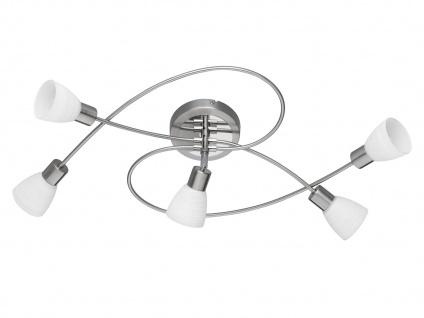 LED Deckenleuchte Deckenlampe CARICO Nickel matt Glas weiß B. 73cm