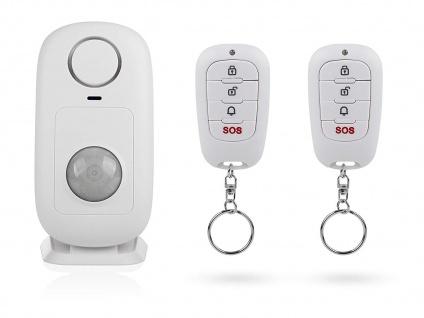 Mini Funk Bewegungsmelder mit 2 Fernbedienungen & Alarm 110dB, Zutrittskontrolle