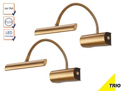2er Set schöne LED Bilderleuchten flexibel Spiegelleuchten in Altmessing dimmbar