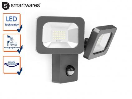 2-flammiger LED Außenfluter mit Bewegungsmelder 2x 12W Fassadenbeleuchtung Wege