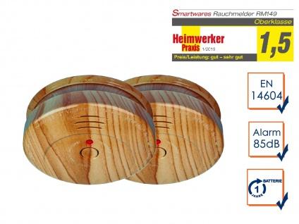 2er-SET Rauchwarnmelder in Holzoptik - Feuermelder Brandmelder Feuer Brand Alarm