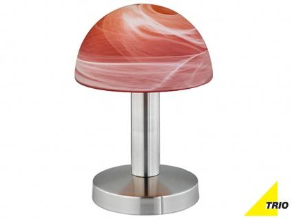 Edle Dekolampe mit Glas Lampenschirm in oranger Wischoptik TOUCH dimmer Funktion
