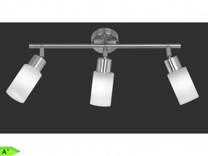 3 flammiger Deckenstrahler mit LED Spots - Nickel matt / Glas weiß TRIO Leuchten
