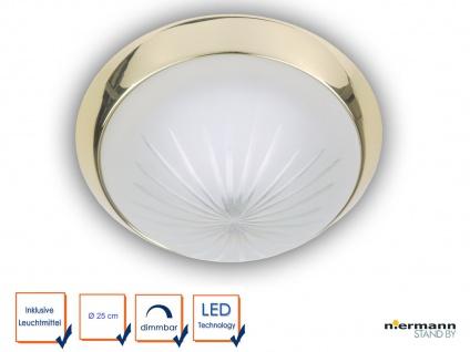 LED Deckenleuchte Schliffglas satiniert, Messing poliert, Ø 25cm Korridorleuchte