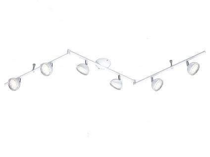 Trio 6 flammiger LED Deckenstrahler BOLOU weiß, Deckenleuchte Schiene Retro