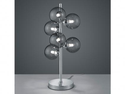 LED Nachttischlampe dimmbar mehrflammig Kugellampe mit Rauchglas fürs Wohnzimmer
