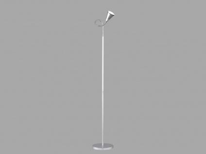Ausgefallene Designer Stehlampe mit Schwanenhals 1 flammige Standleuchte Silber