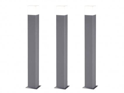 LED Pollerleuchte in Hell Grau 80cm - 3er Set Wegeleuchten Terrassenbeleuchtung - Vorschau 2