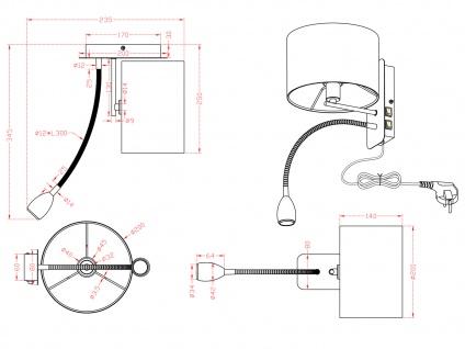 Wandleuchte mit Stoffschirm schwarz und LED Leselampe fürs Bett - Stecker Kabel - Vorschau 4