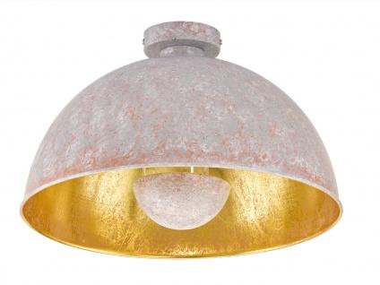 Retro LED Deckenleuchte mit Metall Schirm Betonoptik grau/Gold - Wohnraumleuchte