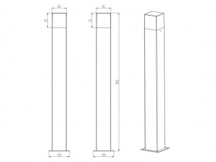 LED Pollerleuchte Titanfarben 80cm - 2er Set Wegeleuchten Terrassenbeleuchtung - Vorschau 4