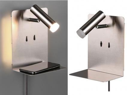 LED Wandleuchten Silber Leselampe USB Anschluss & Ablage 2 Wandlampen fürs Bett