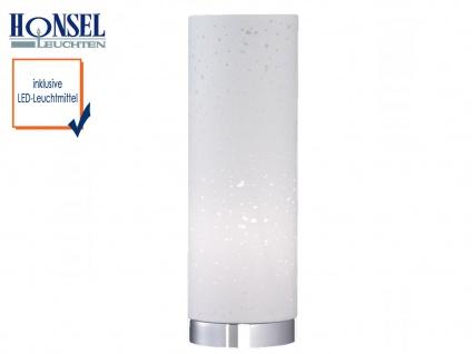 Kleine Tischlampe LED, Chrom mit Lampenschirm Stoff weiß, Nachttischlampe Design