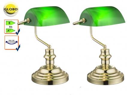 2x Globo Tischlampe ANTIQUE, Bankerlamp Acryl grün, Retro Vintage Tischleuchten