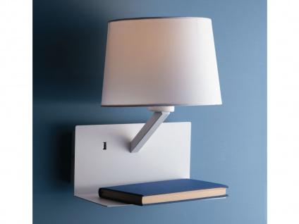 Wandlampe Weiß mit Stoff Lampenschirm, USB Lampe mit Handy Ladefunktion & Ablage