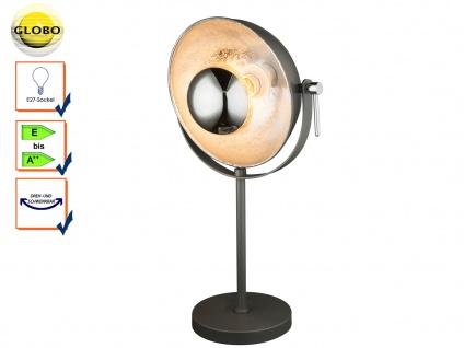 Globo Retro Tischlampe schwarz silbe Reflektor schwenkbar, Tischleuchte E27