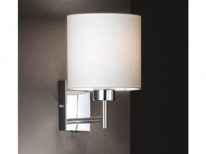 Wandleuchte Silber klassisch mit Schalter & Lampenschirm rund Stoff Weiß Ø 16cm