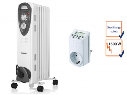 1500W Elektroheizung mit Rollen, Thermostat & Zeitschaltuhr, Raumheizung Timer