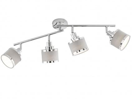 Design Deckenstrahler runde Lampenschirme Stoff 4 Spots schwenkbar Deckenlampen