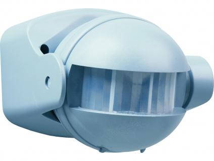 Bewegungsmelder grau 12m/180°, Zeitintervall einstellbar, IP44, Bewegungsmelder