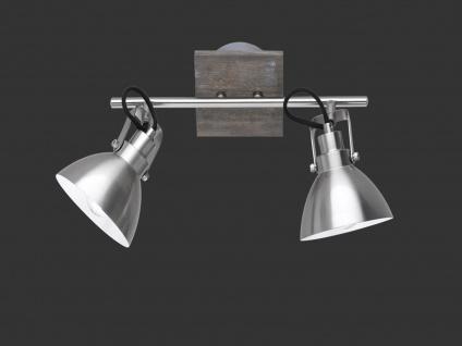 Deckenlampe mit 2 schwenkbaren Spots, Vintage Look Metall Nickel matt holzfarbig - Vorschau 5