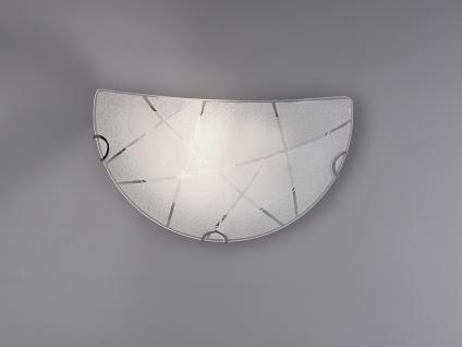 Exklusive Wandleuchte 30x15cm, Glasschirm in weiß mit schickem Streifendesign