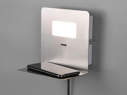 LED Wandleuchte Silber USB Anschluss & Ablage Nachttisch Wandlampen fürs Bett