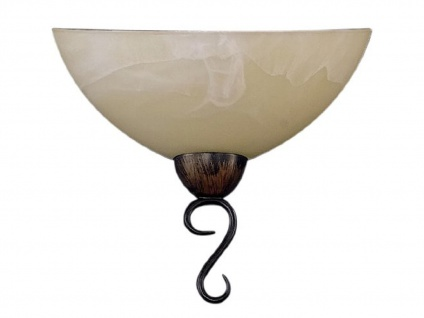 Wandleuchte, Rostfarbig antik, Glas champagne, Honsel-Leuchten, ANTIK