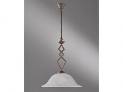 Dimmbare Landhaus Pendelleuchte mit LED, Hängelampe antik Lampenschirm Glas weiß