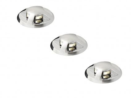 Erweiterungsset 3 Mini LED Bodenspots verchromt Ø3, 5cm für Garten Terrasse IP44