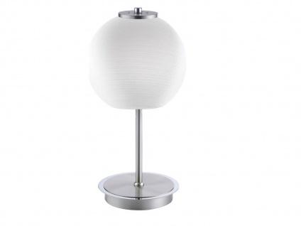 LED Tischleuchte mit Glaslampenschirm Kugel weiß, Nachttischleuchte Flurlampe M6