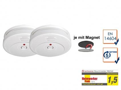 2er-SET Rauchmelder 5 Jahres Batterie TÜV geprüft + Magnetbefestigung Alarm