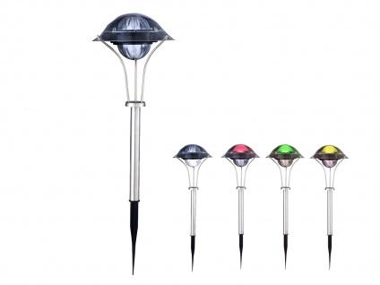 LED Edelstahl Solarlampe mit Farbwechsel, Terrassen- & Außenbeleuchtung Erdspieß