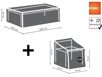 Abdeckhauben Set: 1x Hülle für Tisch max. 240cm + 1x Plane für 4-6 Sessel 90cm