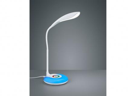 Flex Schreibtischleuchte in Weiß Touch Dimmer USB Anschluß + RGB Farbwechsler