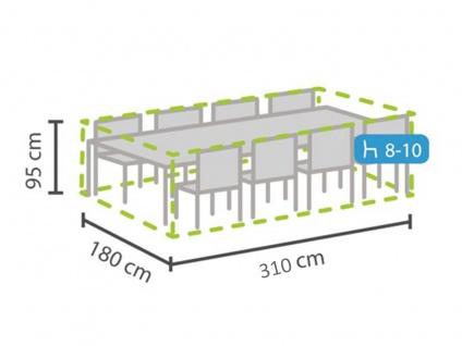 Abdeckhaube Hülle XXL rechteckig 310x180cm für Gartenmöbel, Plane wasserdicht