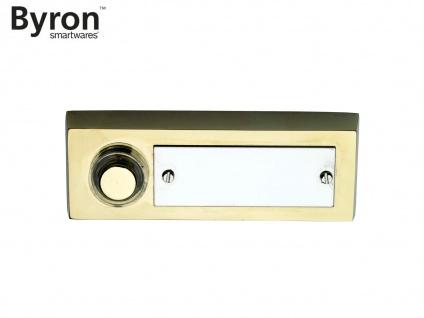 Klassischer BYRON Klingeltaster Messing gebürstet, Klingelknopf mit Namensschild