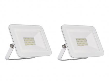 2er Set 10W LED Außenwandstrahler weiß mit Befestigungsbügel, flaches Design