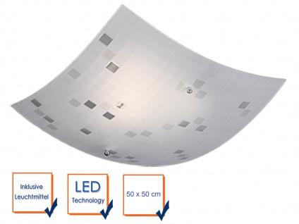 Eckige LED Deckenlampe 50x50cm, Glasschirm satiniert in weiß, grau gemustert - Vorschau 3