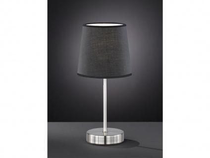 Design LED Nachttischleuchte Lampenschirm Stoff rund in Schwarz Ø14cm Flurlampe