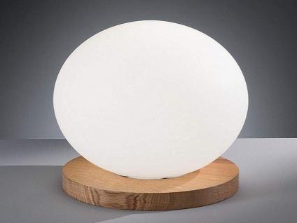 Ovale LED Tischleuchte Glaskugel weiß Ø30cm Design Holz Eiche - Wohnzimmerlampe