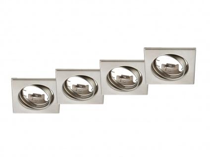 4 Stk. Einbaustrahler Decke eckig schwenkbar Nickel matt GU10 - Deckenleuchten