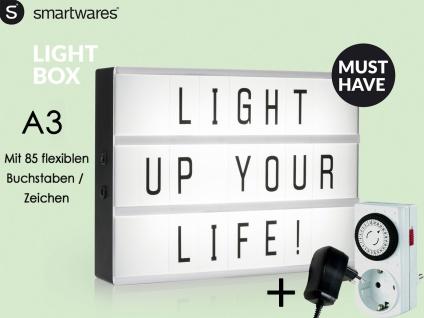 Light-Box / Leuchtkasten A3 mit 85 Buchstaben + Netzadapter & Zeitschaltuhr