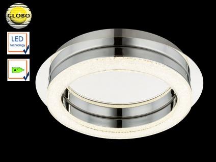 Globo LED Deckenleuchte SPIKUR, Deckenlampe rund, Chrom Kristalle, Designleuchte